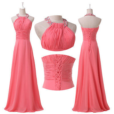 2014 Bridesmaid Long Chiffon Ball Gown Evening Formal Prom Party Cocktail Dress