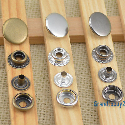 12.5/15/17mm Silver/Brass/Black Snaps Fastener Press Studs Sewing Leather Craft