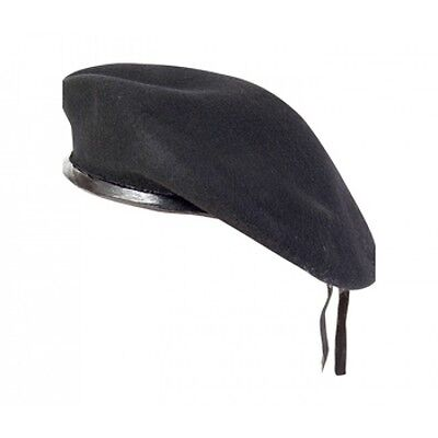 New WOOL Mens Ladies Black Beret Hat Cap Army Military - Fashion or Fancy Dress