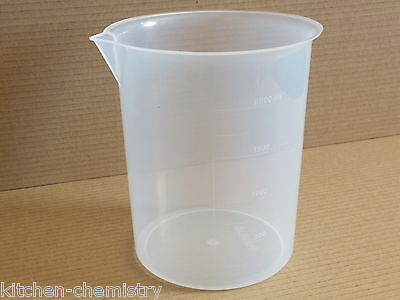 Plastic Beaker Large 2000 ml (2 litre) Measuring Container NEW 2 litres liters