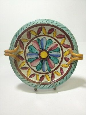 ViTG Hand Painted Italian Pottery Rope Handled Dish Plate Tray Italy Numbered