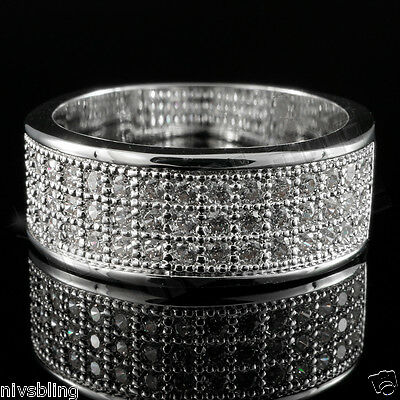 18K White Gold Bling Out Iced BAND Engagement MICROPAVE CZ Pinky Men Women Ring