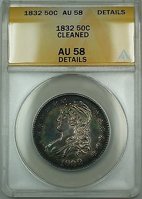 1832 Capped Bust Silver Half Dollar 50c Coin ANACS AU-58 Details Cleaned RF