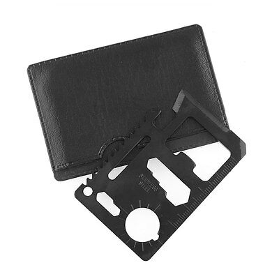 Mini 11 in 1 Multi Function Credit Card Survival Saw Pocket Black Tool