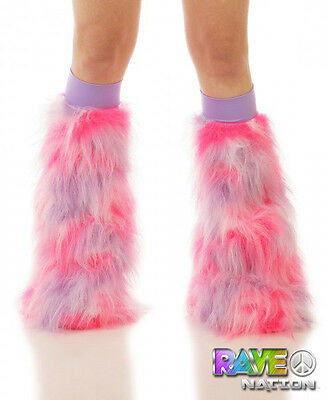 TrYptiX Purple Pink White Furry Boot Cover Leg Warmers Lilac Kneebands EDC UMF