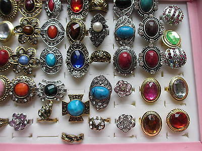 Wholesale & Job Lots 30 Rings Assorted Style & Colours SP & Gold Plated Free Box