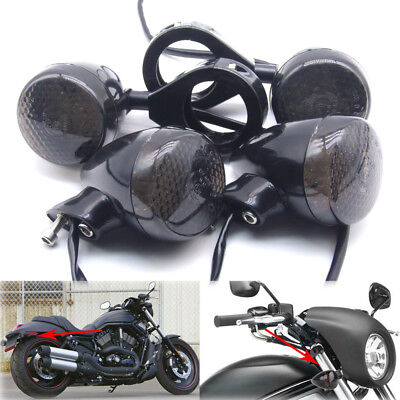 4x Black Front Rear Motorcycle LED Turn Signal Light 39mm Fork Clamp For Harley