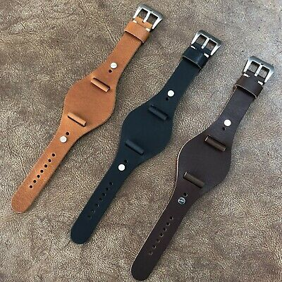Size 20/22/24mm Military Style Genuine Leather Cuff Oval Pad Watch Strap #129