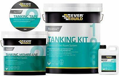 Aquaseal Wet Room System Waterproof Tanking Kit Large 7.5M² Everbuild
