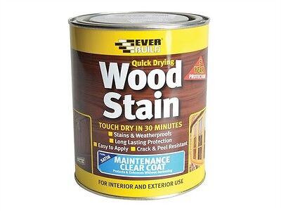 Everbuild Quick Drying Wood Stain 750Ml Weatherproof Satin Many Colours