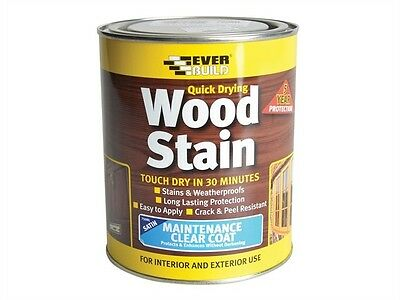 Everbuild Quick Drying Wood Stain 2.5L Weatherproof Satin Many Colours 2.5Ltr