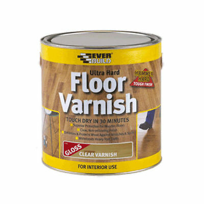 Everbuild Ultra Hard Floor Varnish Clear Gloss 2.5L Quick Drying 2.5 Litre