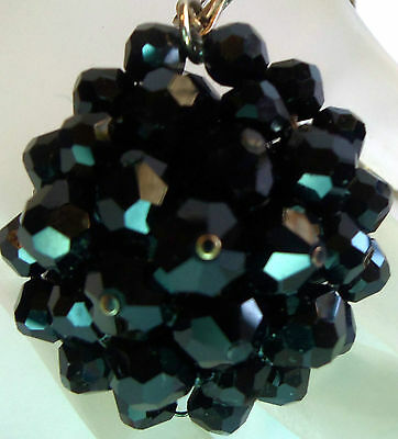 VINTAGE SPARKLY BLACK FACETED CRYSTAL BALL CLUSTER PENDANT NECKLACE Estate Jewel