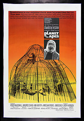 PLANET OF THE APES * CineMasterpieces ORIGINAL MOVIE POSTER 1968 SCI FI LINEN