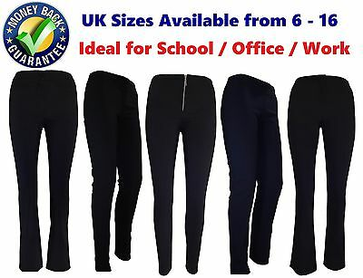 Girls Black Grey Navy School Trousers Work Super Quality Skinny Bootleg Stretchy