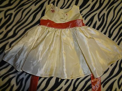 Baby Girls Size Xs Extra Small Kid's Dream Ivory Pink Flower Dress Large Bow @@!