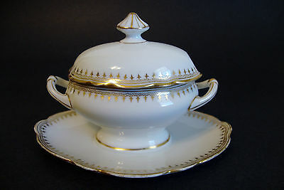 Antique Ginori Small Covered Mustard Dish & Attached Under Plate - White/Gilded