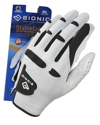 1 x BIONIC WHITE STABLE GRIP GOLF GLOVE - MENS - LEFT & RIGHT HAND AVAILABLE