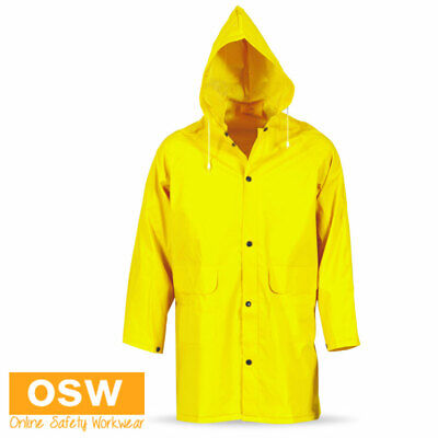 Unisex Mens Ladies Outdoor Adults Pvc Yellow 3/4 Length Hooded Rain Jacket