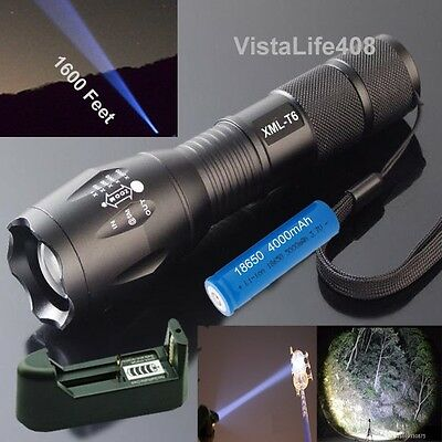 5 Mode, 2000 Lumen Zoomable Focus CREE XML T6 LED Flashlight + Charger + Battery