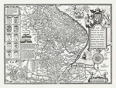 LINCOLNSHIRE 1610 County Map by John Speed - Uncoloured
