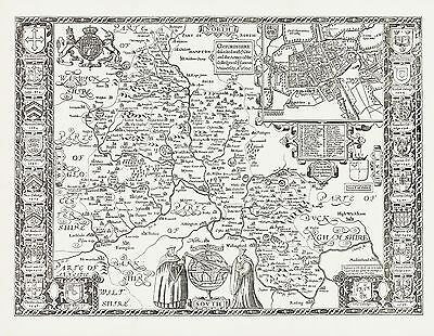 Map of OXFORDSHIRE 1610 by John Speed   - Uncoloured
