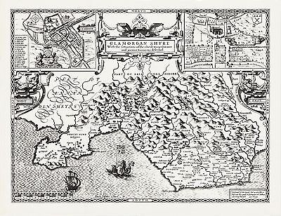 Old Map of WALES GLAMORGANSHIRE 1610 by Speed - Uncoloured
