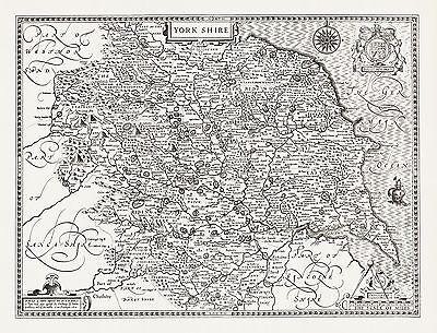 YORKSHIRE 1610 MAP by John Speed  - Uncoloured
