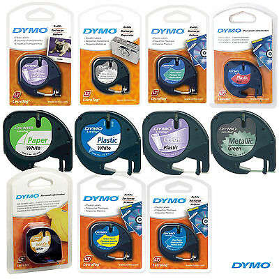 Dymo Letratag Label Printer Cartridge Tape Refill 12Mm Choose Colour & Style