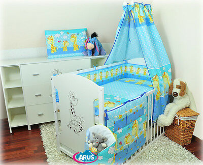 11-part set: baby cot with drawer MIKI 2 colors+10 piece bedding set with canopy