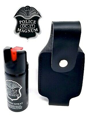 Police Magnum pepper spray 2oz Safety Lock Black Holster Belt Clip Security