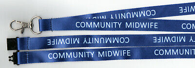 1 Royal Blue COMMUNITY MIDWIFE Pre-Printed Safety Strap Lanyard