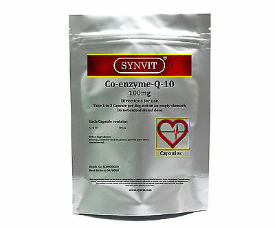 SYNVIT® CO-ENZYME-Q10-100mg CoQ10, Co Q 10, Co enzyme q10 Heart health Capsules