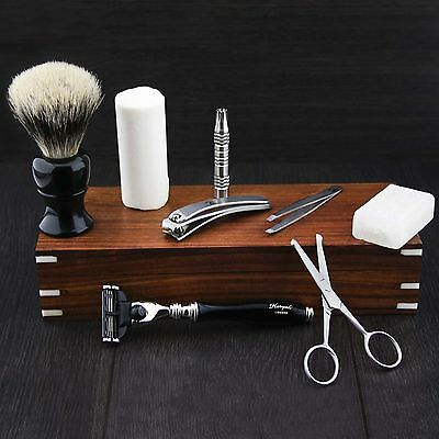 VINTAGE BARBER SALON TRIPLE EDGE SHAVING RAZOR Gift Set 9 Pc Luxury Kit