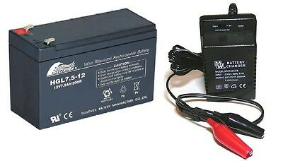 Toy Car Battery and Charger Combo 12V 7.5ah 7ah Battery & 12 Volt Mains Charger