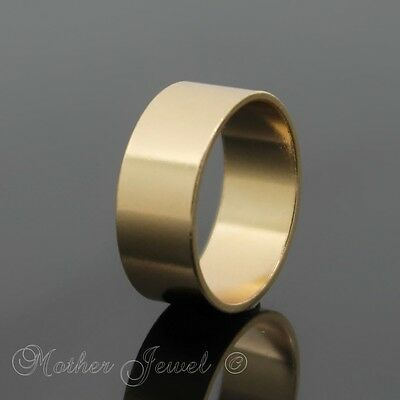 Wide 7Mm Yellow Gold Plate Mens Ladies Girls Wedding Band Eternity Ring Size 5 J