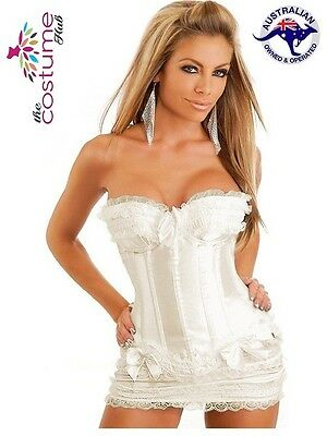 Burlesque White Boned Satin Corset with Mini Skirt Bridal Size 8 - 26 AU