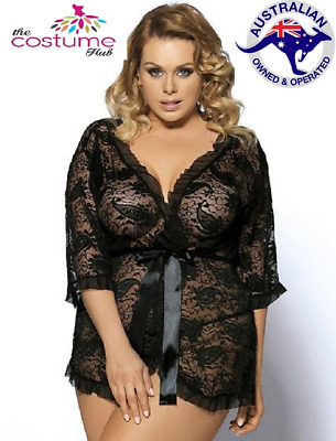 Size 10 - 20 Plus size Black Paisley Lace Gown/Babydoll Wrap Robe