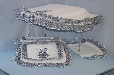 Pram Sun Canopy set to fit coach built silver cross prams in white with Navy