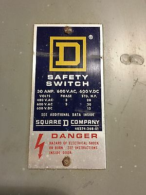 Square D Safety Switch 30AMP