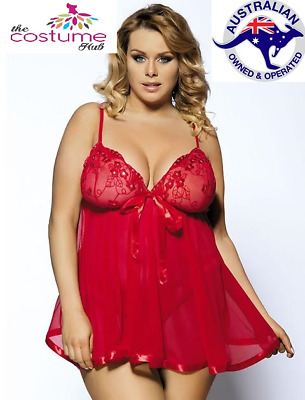 Red Sexy Sequin Lingerie Babydoll Nighty Chemise Size 8-26 PLUS SIZE AU