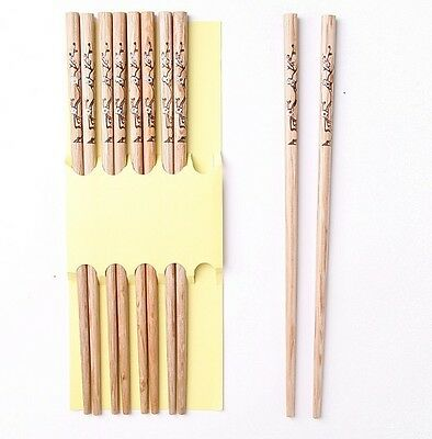 5 Pairs carved flower lucky 1set/5 pairs natural bamboo wood hairstick chopstick