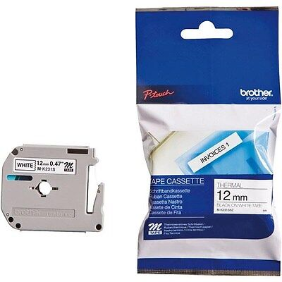 Brother P-touch M-K231SBZ (12mm x 4m) Black On White Plastic Labelling Tape