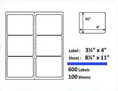 """S6 600 Shipping Labels 3-1/3""""x4"""" Mailing Address 100 Sheets Compare Avery 5164"""