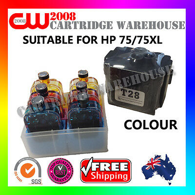 DIY Ink Refill 6 Times for HP75/75XL COLOUR GENUINE Cartridges