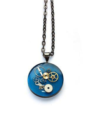 Hand Crafted Blue Pendant Clock Watch Cogs With Gunmetal Finish Chain