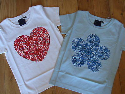 Mini Boden Hand Embellished Beaded T'shirt Top- Heart Or Flower  Age 3-12  Bnwot