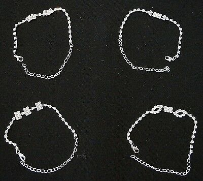 BRAND NEW Lot of 4 Tennis Bracelets Cubic Zirconia Fashion in Black Velvet Bag