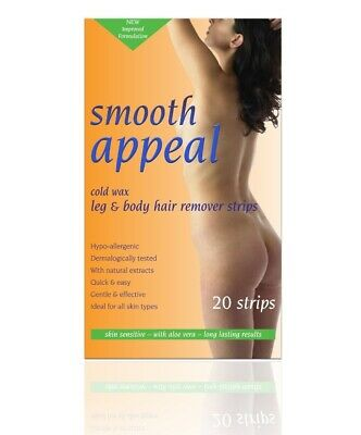 Smooth Appeal Hypoallergenic Leg and Body Waxing Hair Removal Cold Wax 20 Strips