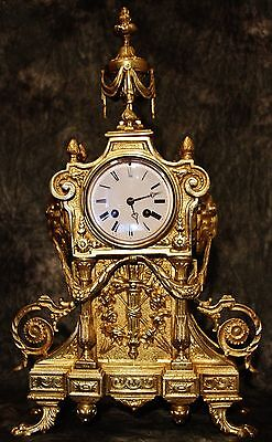 Beautiful Large Heavy Empire French Antique Gilt Solid Bronze Clock 19Th C